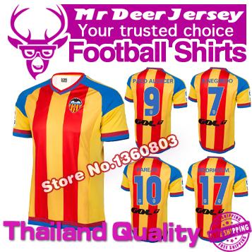 2016 Valencia jersey 1516 La Liga Valencia away orange jersey NEGREDO PAREJO GAYA Custom name PACO ALCACER FEGHOULI GOMES(China (Mainland))