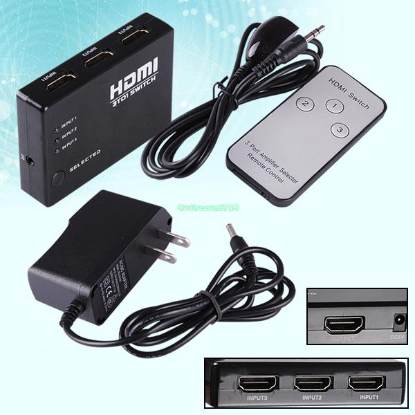 3 Port HDMI Splitter Switch Switcher Hub Box Selector HDTV Full US Power Supply EL5639(China (Mainland))