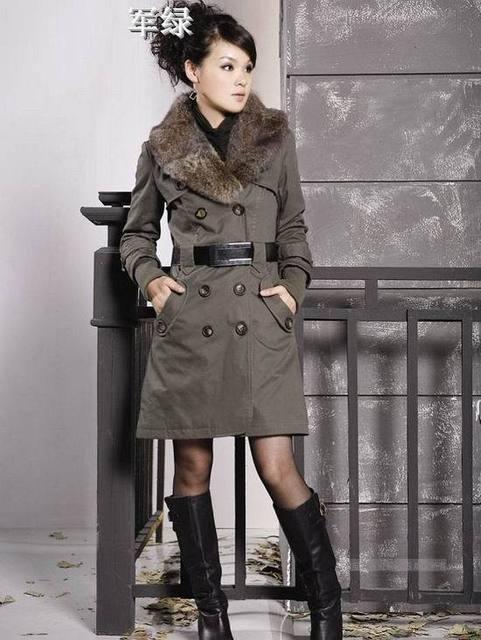 2017 Faux Fur Lining Women's Fur Collars Ladies Coats Winter Warm Long Coat Jacket Cotton Clothes Thermal Parkas #10106