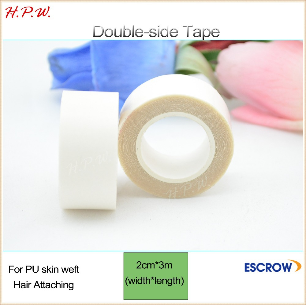 H.P.W. 10rolls Double sided tape 2cm*3m hair/skin/wig PU hair extension attaching +DHL