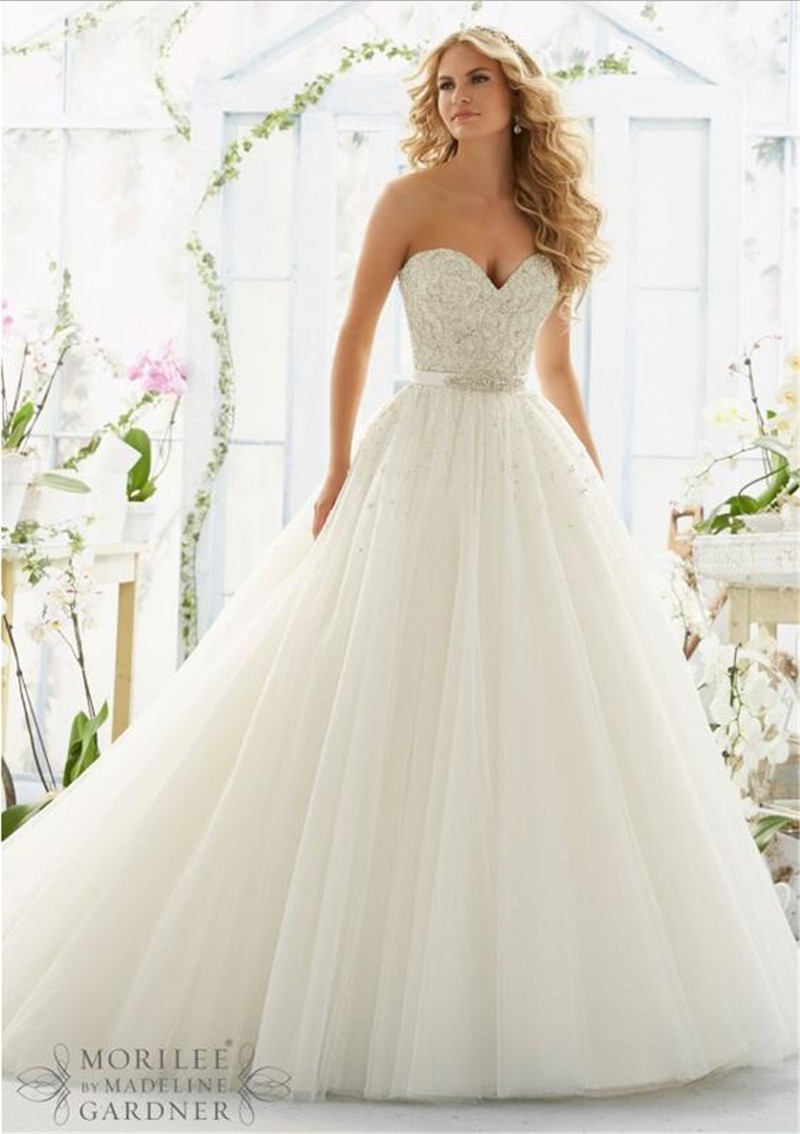 New design off shoulder a line tulle wedding dress 2016 for Beading for wedding dress
