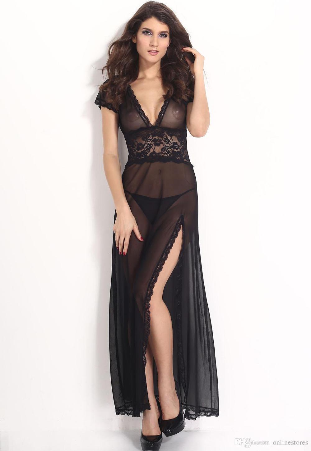 Adogirl 2016 Black/White Red Mesh V Neck Lingerie Sexy Nightwear Women Plus Size 2XL Sleepwear Transparent Lingerie Nighgowns(China (Mainland))