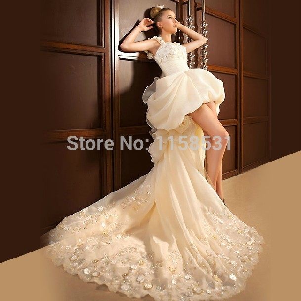 2014 new romantic high low straps white ivory lace flowers for Wedding dress made of flowers