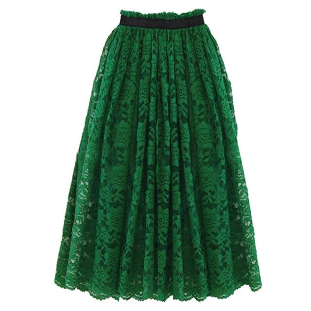 2016 Весна Осень Кружева Юбки Зеленый Черный Цветочные Кружевоd Длинные Прямые Юбки