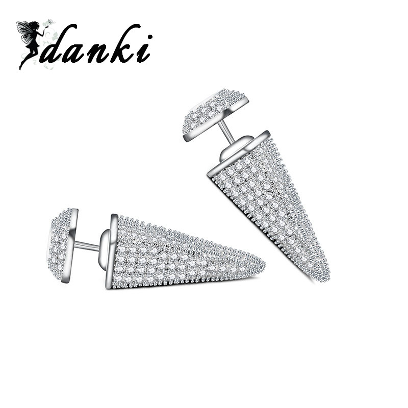 Trendy Jewellery Women Silver Earrings Punk Style Accessory Brand Dual Sided Banquet Party Female Double Earrings Stud Luxury(China (Mainland))