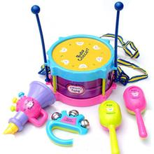 Cute 5Pcs Set Kids Child Music Instruments Drum Rock Band Kit Pretend Music Toys For baby gift(China (Mainland))