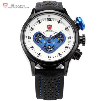Genuine SHARK Date Day Display Stainless Steel Case Leather Strap Belt White Blue Quartz Wrap Wristwatch Men Casual Watch /SH089