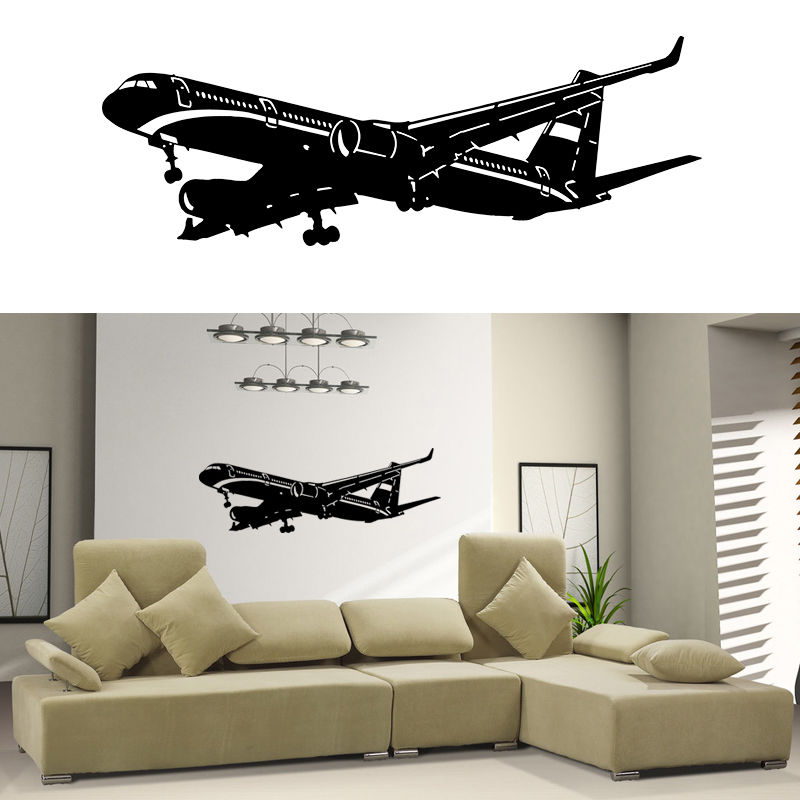 Removable Art Home Decor Vinyl Wall Decal Sticker Plane Air Boing Airbus Aircraft Big Airplane Wall Srticker Removable D 87