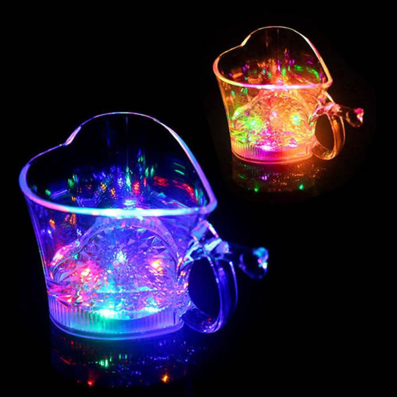 1pc New arrival LED flashing PP LED luminous cup heart shape for birthday party Halloween Christmas gift L30(China (Mainland))