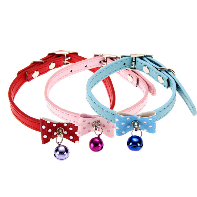 New Fashion Adjustable Pet Puppy Dog Collar PU Leather Bowknot Bell Collar Cute Accessories for Small Dogs Three Colors(China (Mainland))