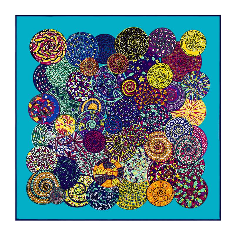 [LESIDA]2016High Quality Large Blue Square Silk Scarf Women Hijab Scarves Echarpes Foulards Femme Silk twill Scarfs BandanaLL06(China (Mainland))