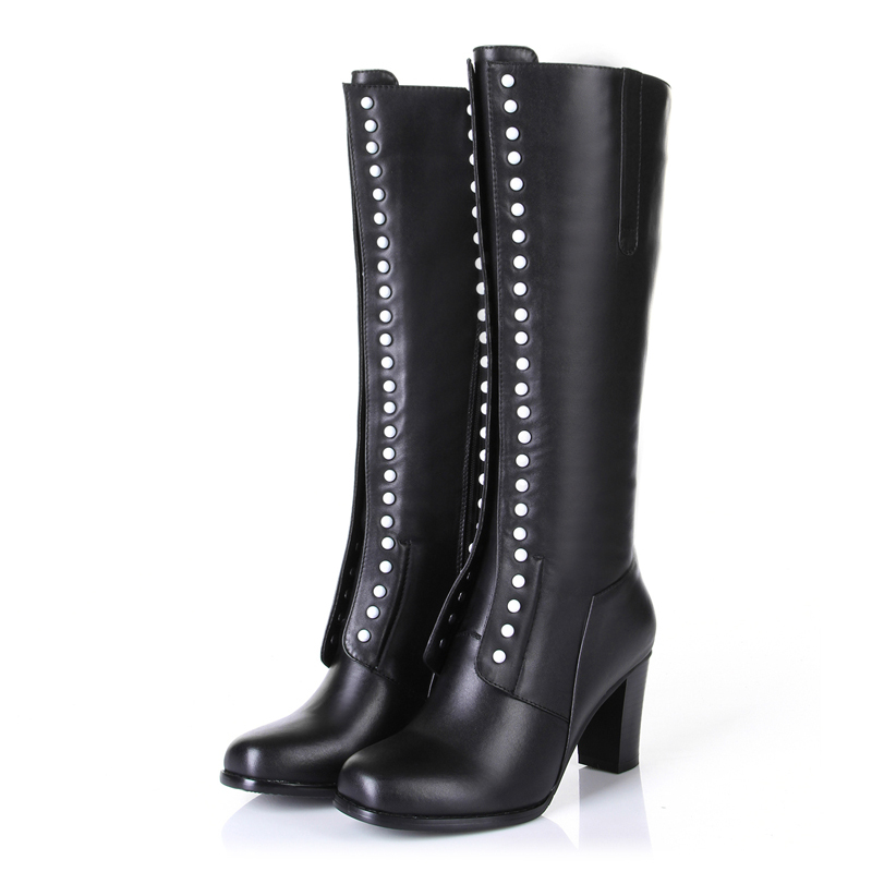 Handmade high quality custom European style leather wild sexy high-heeled boots boots double row metal rivets decoration<br><br>Aliexpress