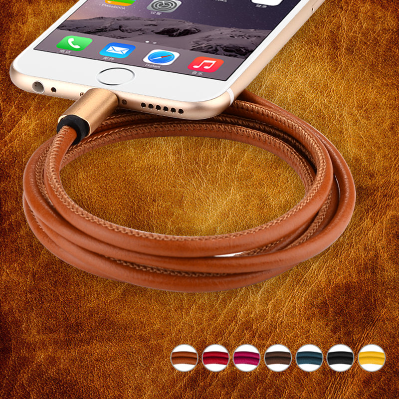 Genuine leather mobile phone cables for iPhone 6 6s Plus 5s 5c se ipad mini Andriod micro usb cable For samsung xiaomi lenovo(China (Mainland))