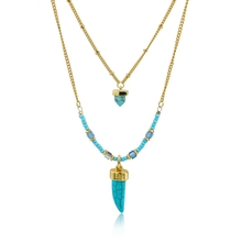 Crystal Turquoise Long Statement Necklaces Natural Stone Beads Necklaces For Women Silver Ethnic Jewelry Collier Femme