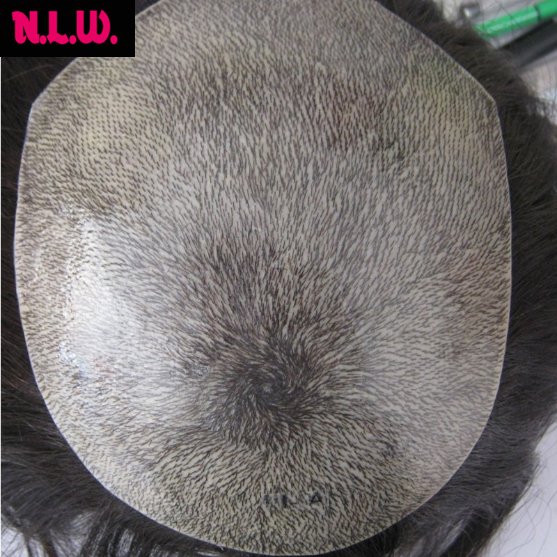 4 weeks custom European virgin hair PU thin skin toupee for men Single knots and natural front hair line in 0.02 cm PU no shine