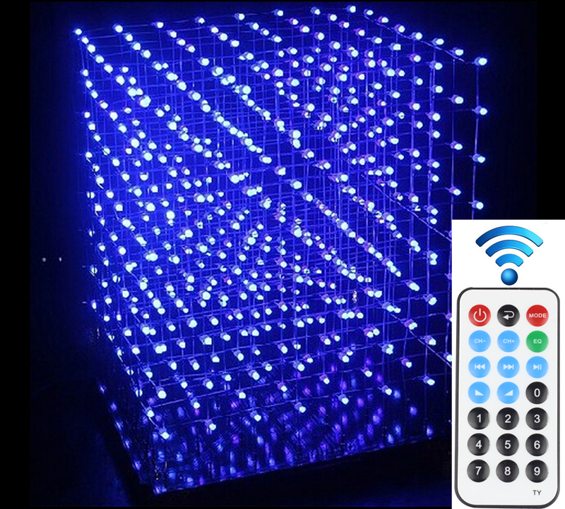 DIY 3D 8S LED Light Cube With Animation Effects /3D CUBE 8 8x8x8 3D LED /Kits/Junior,3D LED Display,Christmas Gift(China (Mainland))