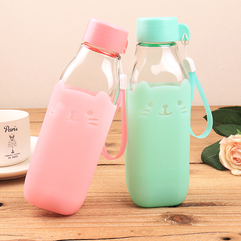 Candy Color Glass Bottle Silicone Creative Mug Cup Sweet Bottles Eco-Friendly 420ml Camping Travel Use(China (Mainland))