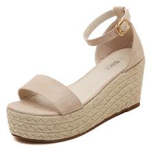 2016 summer new wedge platform high-heeled sandals straw knit sweet women sandals ladies shoes