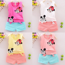 The new 2016 Summer fashion Leisure Cartoon Minnie children's clothing Set Girls Boys clothes baby wear sportswear + pants 2pc(China (Mainland))