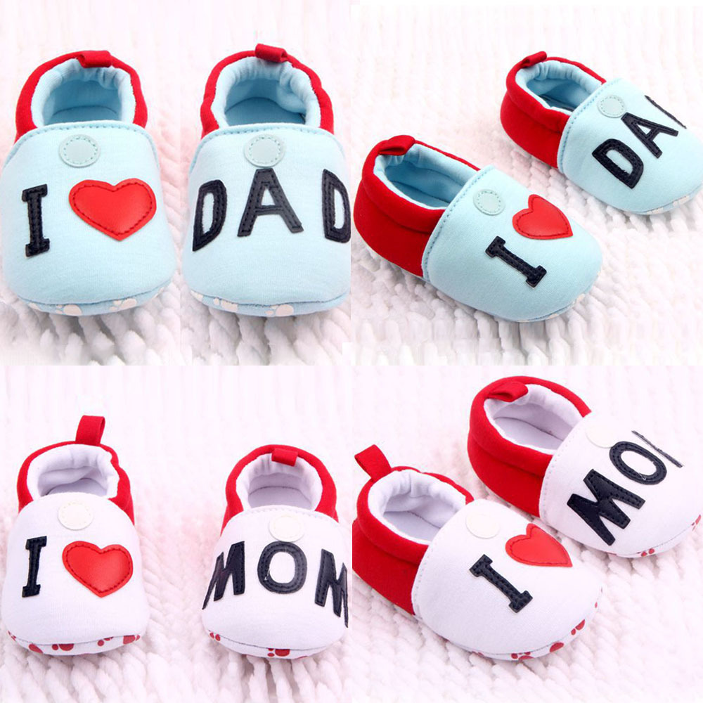 Lovely Girl Boy Round Toe Flats Soft First Walker Shoes I Love MOM DAD