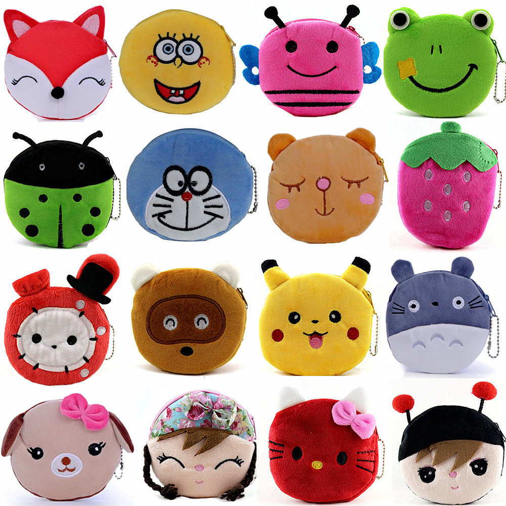 New Fashion Mini Women Girls Plush Cartoon BAGS, Kids Cheap Stuffed COIN PURSE, Pouch Change PURSE Bear Owl Cat Frog Duck WALLET(China (Mainland))