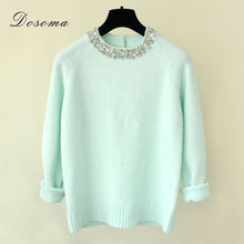 2016 Winter Women Sweaters Pullovers Shiny Crystal Beading O-neck Knitted Sweaters Women Elegant Casual Pullovers Warm Knitwear(China (Mainland))