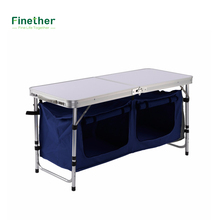 Buy Lightweight Portable Height-Adjusable Rectangle Aluminum Folding Table Large 2-Compartment Storage Bag Picnic Camping for $39.99 in AliExpress store