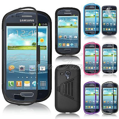 Wrap Up Case Cover w/ Built-In Screen Protector Phone Cases For Samsung Galaxy S3 Mini i8190(China (Mainland))