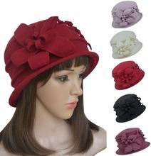 A219 Floral Womens Ladies 1920s Winter Wool Cap Crochet Bucket Church Hat(China (Mainland))