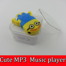 50pcs Cute Despicable Me Minion style MP3 music player+USB+Earphone+Crystal Box Rechargeable MP3 W/TF card Slot Free DHL(China (Mainland))