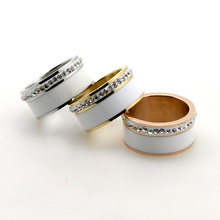 New Fashion 11mm Width One Row Crystal Promise White Ceramic Ring 18K Gold Plated Lover's 316L Stainless Steel Wedding Band Ring(China (Mainland))
