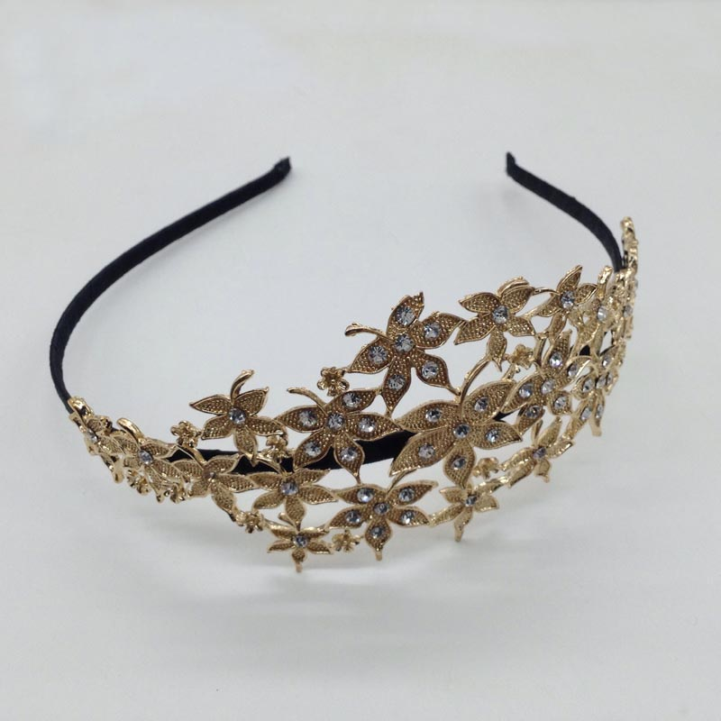 New Fashion Gold Plated Crown Flower Leaves Elastic Headband For Women Girls Floral Rhinestone Knot(China (Mainland))