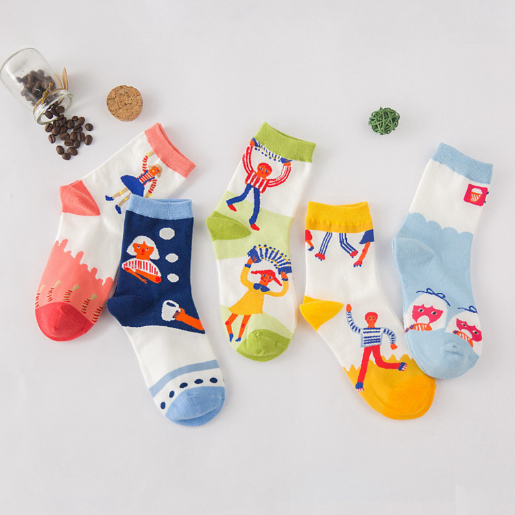 A070 cotton socks socks wholesale Android products South Korea cartoon cute red people cotton socks(China (Mainland))