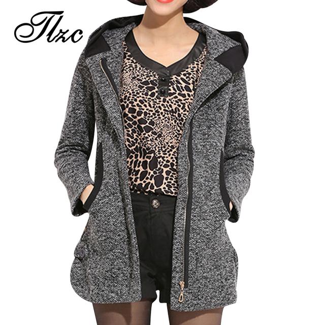 Новый стиль корея леди зимой шерстяные куртки Большой размер L-4XL женщин-капюшоном ...