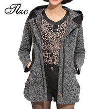 New Korea Style Lady Winter Woolen Jackets Plus Size L-4XL Women Hooded Blend Coats Zipper Up Female Fashion Warm Outerwear(China (Mainland))