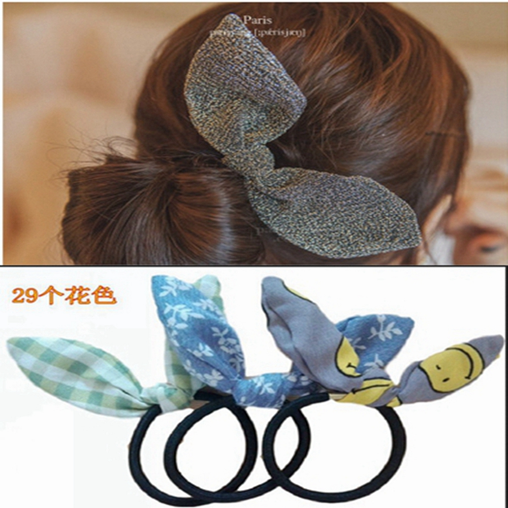 2016 New fashion simple hair Hair ring multicolor pattern elastic knot headwrap rabbit headbands women girls hair accessories(China (Mainland))