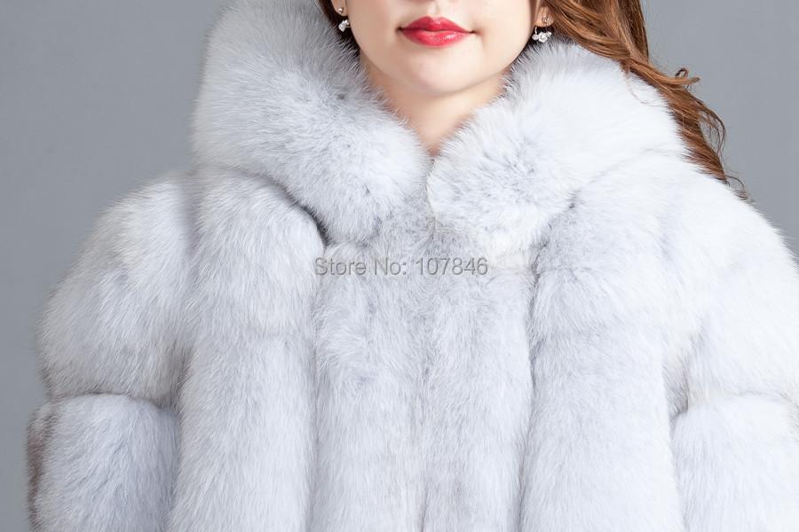 2016 Luxury Lady Genuine  Fox Fur Coat Jacket 3/4 Cotton Lining  Hooded 3XL  Winter Women Fur Trench Outerwear Coats 3XL VK1488