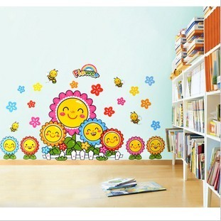 Three generations of smiley sunflower wall stickers child real baby sticker