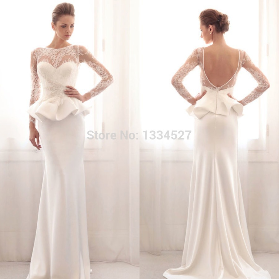 New gorgeous peplum wedding dresses long sleeve lace floor for Peplum dresses for weddings