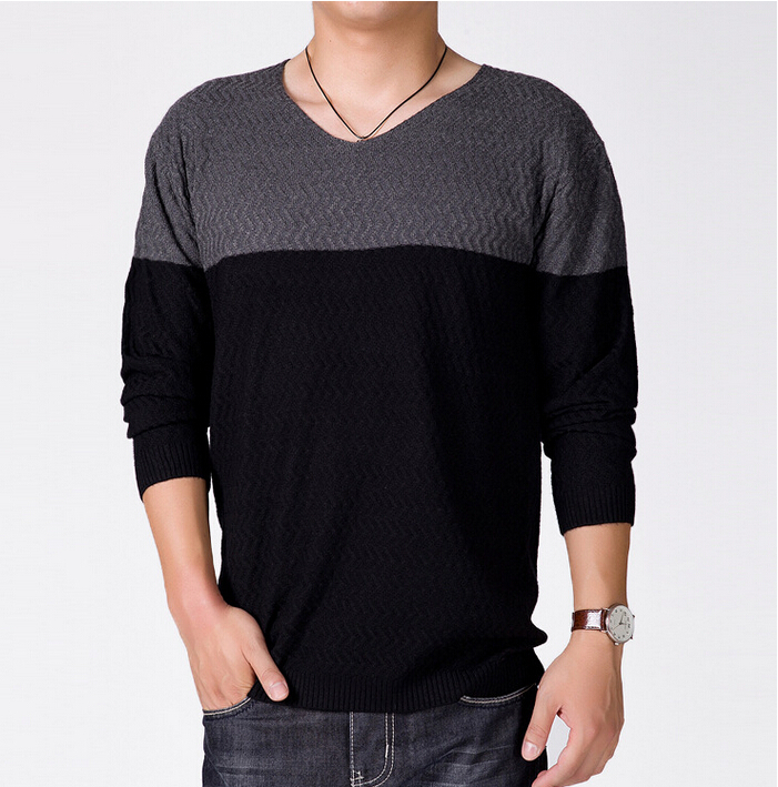2015 New Fashion Casual Cashmere Wool Sweater Men Pullovers Brand Winter Autumn Knitting Long Sleeve V Neck Knitted Wear 2 Color(China (Mainland))