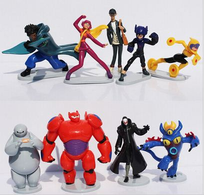 9pcs/Set Big Hero 6 Baymax Hiro Hamada Callaghan Fred Robot Action Figures Cartoon Movie Figures Action Toy(China (Mainland))