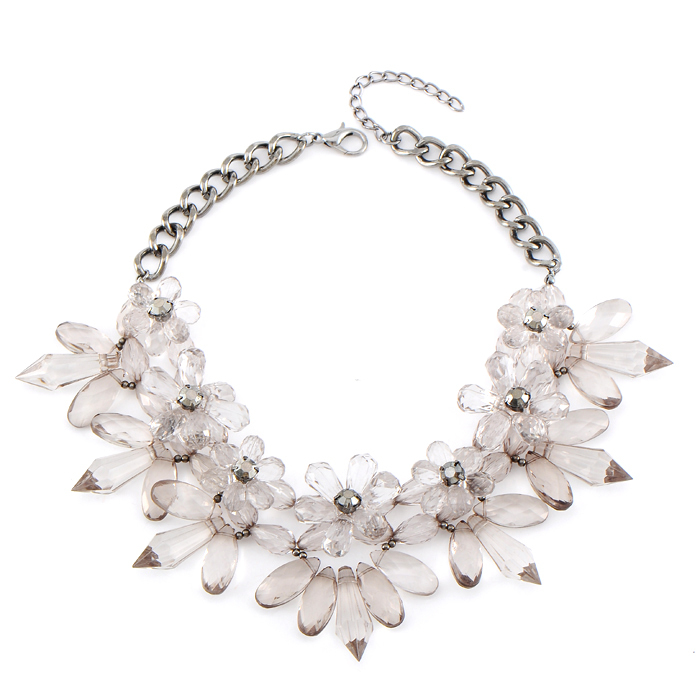 New Arrival Luxury Brand Design Exaggerated Geometry Clear Crystal Necklace 2014 Fashion Choker Collar Statement Women Jewelry(China (Mainland))