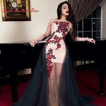 Red And Black Embroidery Mermaid Celebrity Evening Dress See Through Tulle Long Prom Party Dress Gowns Arabic Women Vestido 2016