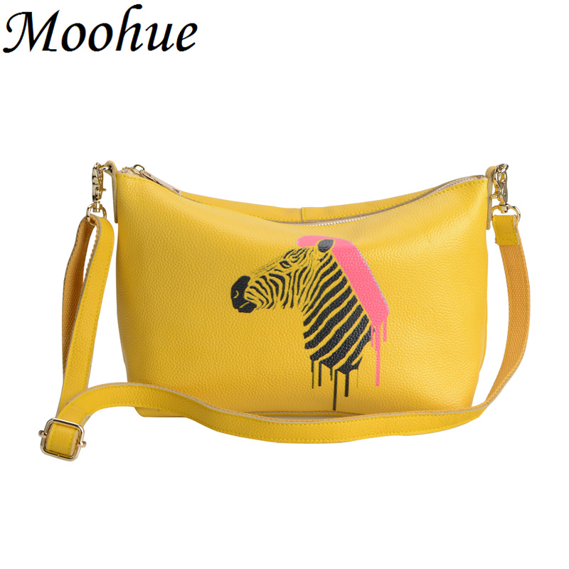 New high quality designer small shoulder bags women animal printing real leather satchel yellow ladies cross body hobo bags(China (Mainland))
