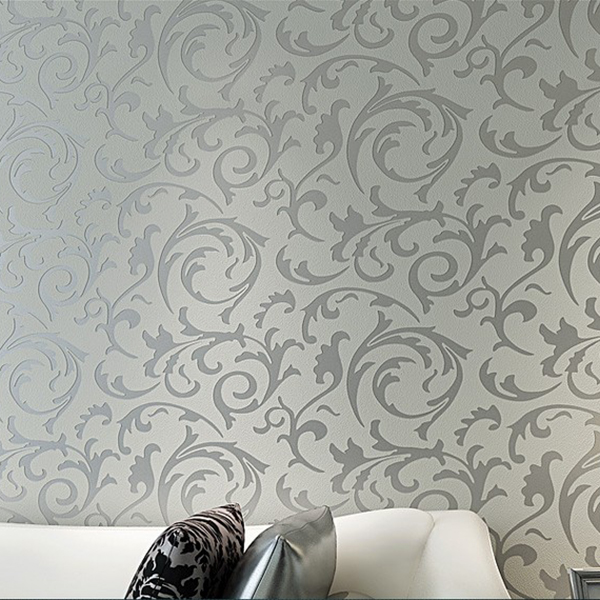 Luxury 3D Victorian Damask Embossed Feature Wallpaper Rolls TV Background Wall Paper For Bedroom(Silver Grey)(China (Mainland))