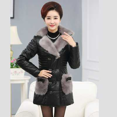 Winter Middle-aged Women Coat jackets Fur Collar Fashion Mother Long Section Padded jacket PU Leather Parkas Outwear A1750