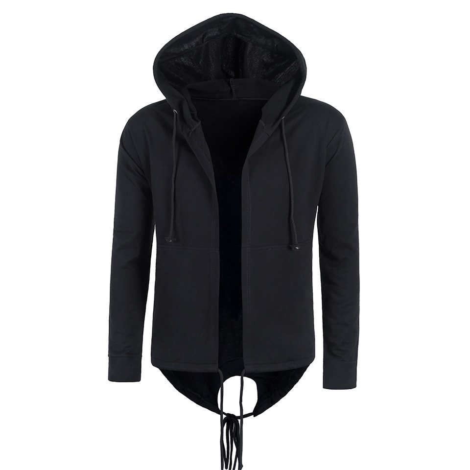 MIEDEON Men's Cotton Casual Hooded Gown Casual Unisex Black Gown Hip Hop Hoodies Sweatshirts Design Autumn Spring Coak Coats (1) -
