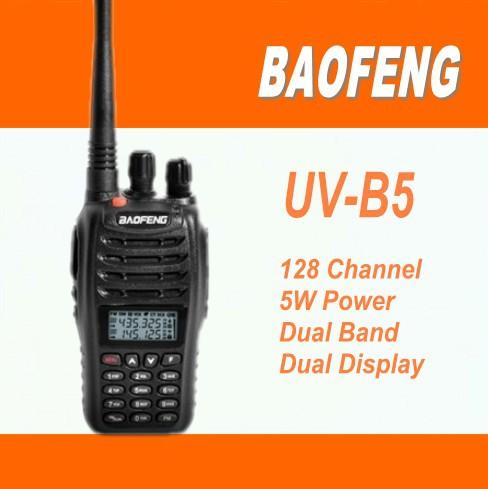 DHL Freeshipping+Baofeng uv walkie talkie vhf uhf dual band dual watch dual standby 2 way radio uvb5 uv-b5+earphone for uv-5r(China (Mainland))