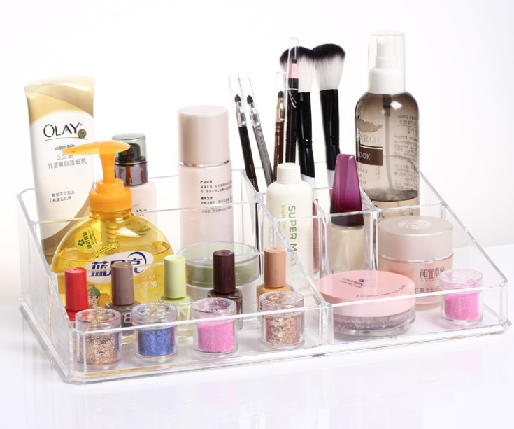 Fashion Acrylic Clear Plastic Cosmetic Jewelry Makeup Organizer MO0104 Storage Box Case Holder Display Large(China (Mainland))