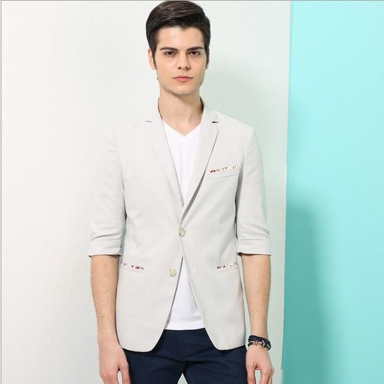 Summer Slim Fit Blazer Masculino Terno Solid Linen Fabric Mens Half Sleeve Jacket Blazer Big Size L-4XL Green Khaki Blue Grey(China (Mainland))